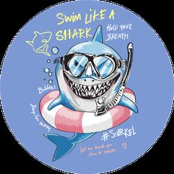 Cartoon Shark In Snorkel Mask Illustration Sticker