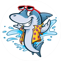 Cartoon Shark With Beachwear Sticker
