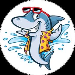 Cartoon Shark With Beachwear Sticker