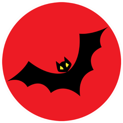 Cartoon Simple Bat Illustration On Red Sticker