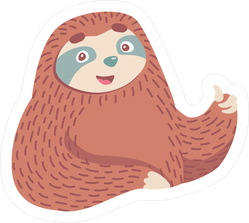Cartoon Sloth Giving A Thumbs Up Sticker