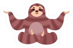 Cartoon Sloth In Yoga Pose Sticker