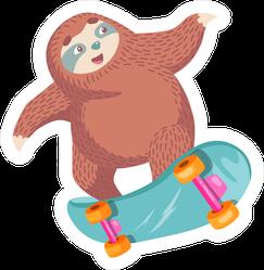 Cartoon Sloth On A Skateboard Sticker