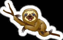 Cartoon Sloth On A Tree Branch Sticker