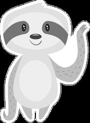 Cartoon Sloth Waving Sticker