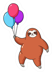 Cartoon Sloth With Balloons Sticker