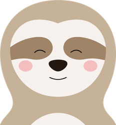 Cartoon Sloth with Closed Eyes Sticker