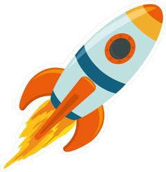 Cartoon Spaceship Rocket Sticker