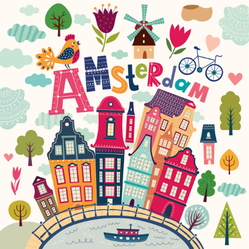 Cartoon Style Amsterdam Sticker