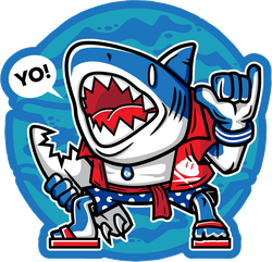Cartoon Surfer Shark Sticker