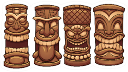 Cartoon Tiki Totems Set Of Four Sticker