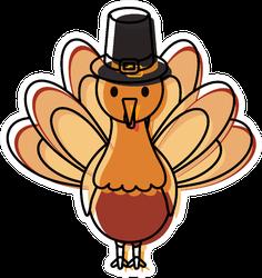 Cartoon Turkey With Pilgrim Hat Icon Illustration Sticker
