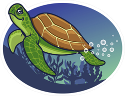Cartoon Turtle Swimming Under Water Sticker