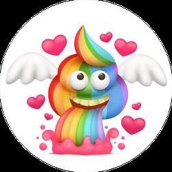 Cartoon Unicorn Rainbow Vomiting Poo Emoji Sticker