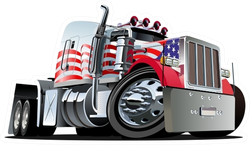 Cartoon USA Semi Truck Sticker