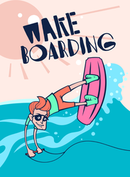Cartoon Wake Boarding Sticker