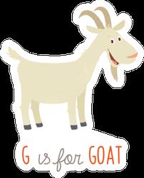Cartoon White Goat. G Is For Goat Sticker