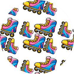 Cartoon With Rollerblades Illustration Sticker