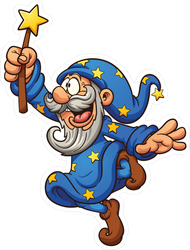 Cartoon Wizard With Magic Wand Sticker