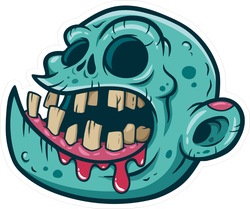 Cartoon Zombie Head With No Eyes Sticker