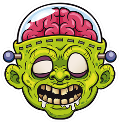 Cartoon Zombie With Protected Brain Sticker
