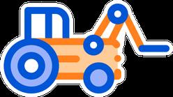 Case Loader Tractor Vehicle Cartoon Sticker