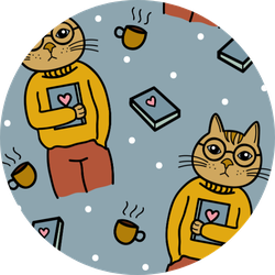 Cat Holding Book Pattern Sticker