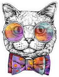 Cat in Glasses with Bow Tie Sticker