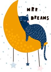 Cat Sleeping On The Moon Sticker