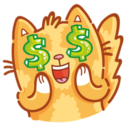 Cat With Dollar Sign Eyes Sticker