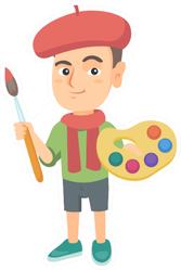 Caucasian Boy Dressed As An Artist Holding Brush And Paints Sticker