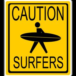 Caution Surfers Sign California Sticker
