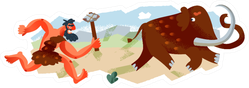 Caveman Hunting Mammoth In Stone Age Cartoon Sticker