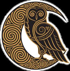 Celtic Owl on the Moon Sticker