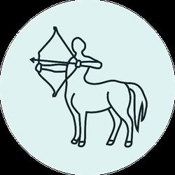 Centaur Icon On Blue Sticker