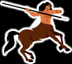 Centaur Warrior Cartoon Illustration Sticker