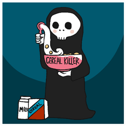 Cereal Killer, The Death Grim Reaper With Cereal Bowl Sticker