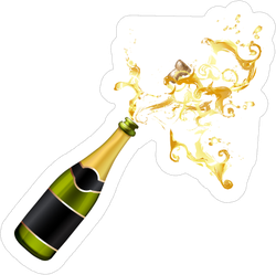 Champagne Bottle Explosion Sticker