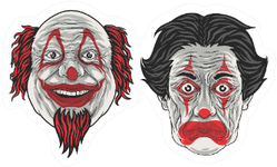 Character Cartoon Two Clown Heads Sticker