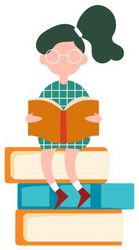 Character Girl Sitting On Big Books School Library Sticker