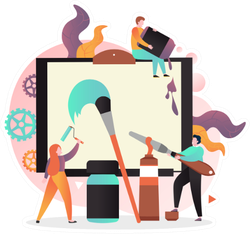 Characters Creative People Artists Painting On Huge Canvas Sticker
