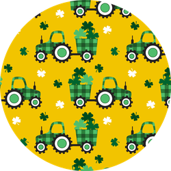 Checkered Tractor With A Trailer And Clover Leaves Pattern Sticker