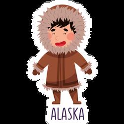 Cheerful Boy Wearing National Costume Of Alaska Illustration Sticker