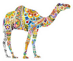 Cheerful Camel, Light Colorful Design Sticker