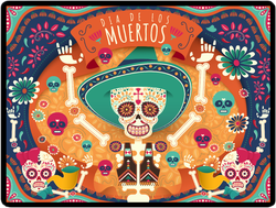 Cheerful Day Of The Dead Skull Sticker