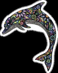 Cheerful Dolphin Flower Design Sticker