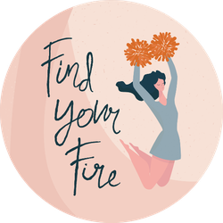 """Cheerleader And Quote """"find Your Fire"""" Sticker"""