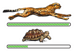 Cheetah And Turtle Fast And Slow Loading Bar Sticker