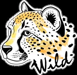 Cheetah Portrait With Lettering Wild Sticker