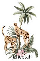 Cheetah, Tropical Palm Tree, Hibiscus Illustration Sticker